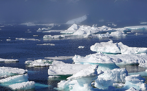 icebergs, sea, ice, greenland, arctic circle, cold, polar region