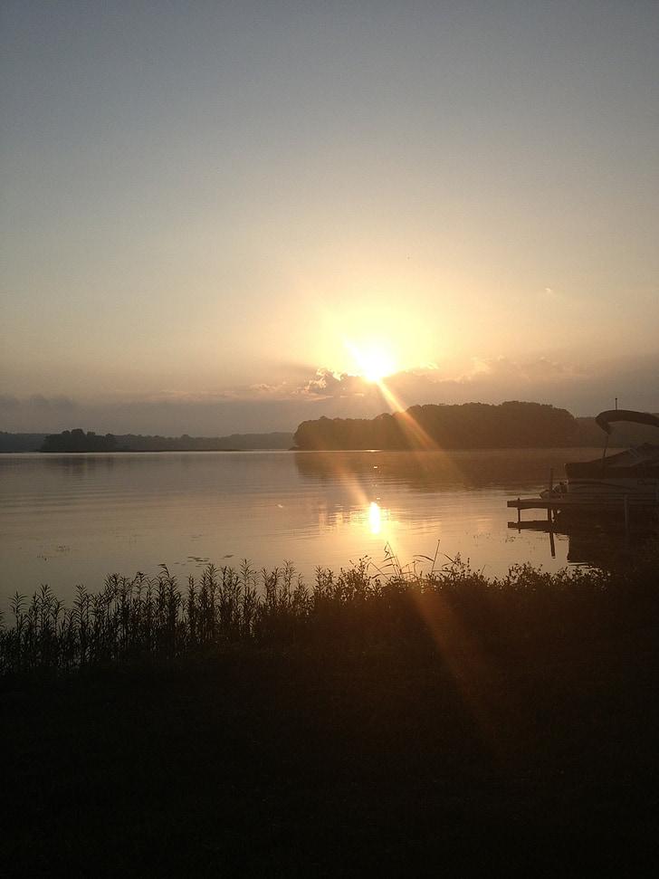 sjön, soluppgång, vatten, natursköna, landskap, dimma, gyllene