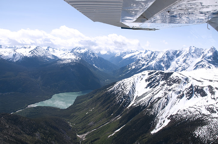 οροσειρά, Βρετανική Κολομβία, εναέρια, Καναδάς, ακτές του Ειρηνικού, παγετώδης λίμνη, χιονισμένα βουνά