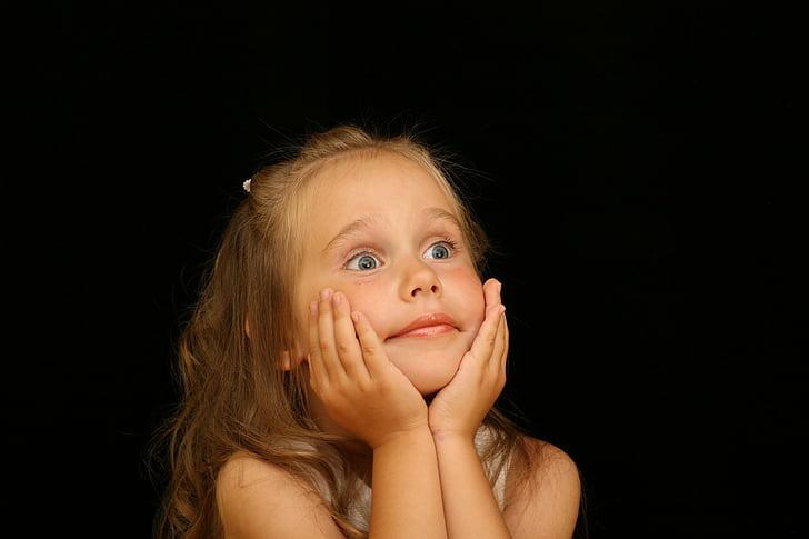 girl, child, astonished, surprised, joy, portrait, person