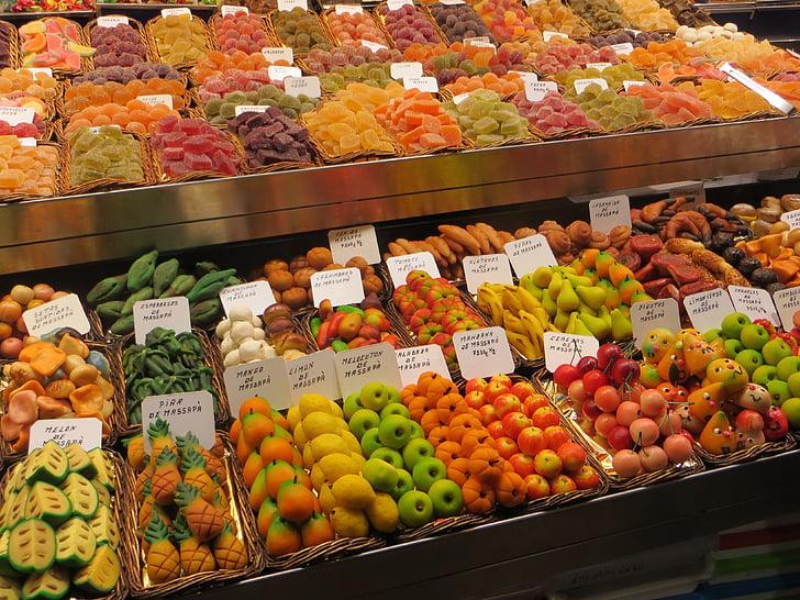 tirgus, augļi, eksotiskiem augļiem, augļi, krāsas, pārtika