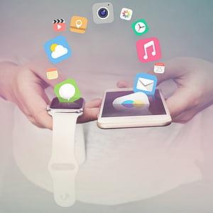 Poma, iPhone, iwatch, apps, mòbil, comunicació, pantalla