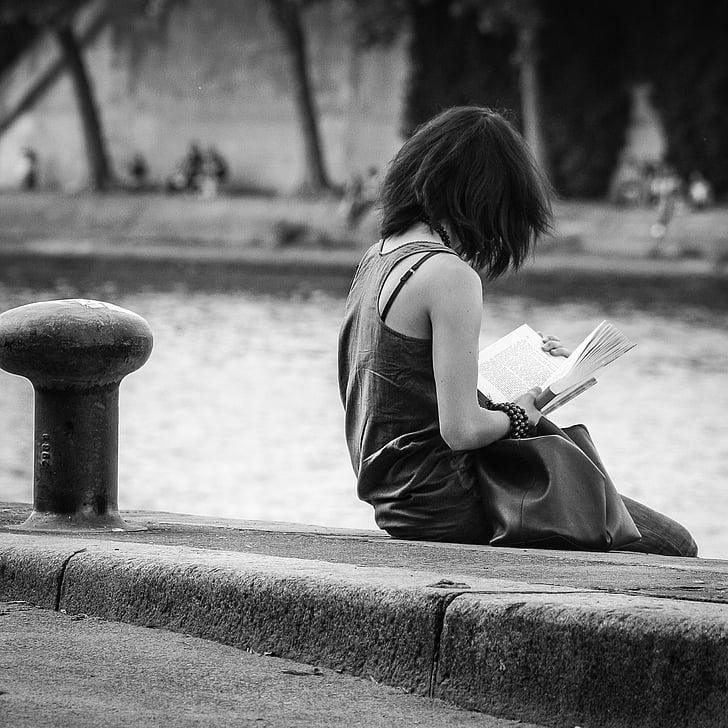 noia, Sena, París, lectura, llibre, relaxar-se, l'educació