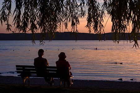 일몰, 콘스탄스 호수, unteruhldingen, 호수, 은행, 앉아, abendstimmung