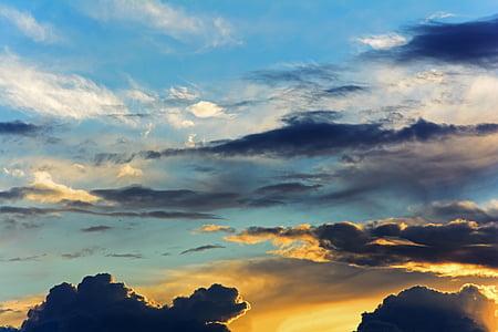 langit, awan, matahari terbenam, langit malam, sorotan, pemandangan, alam