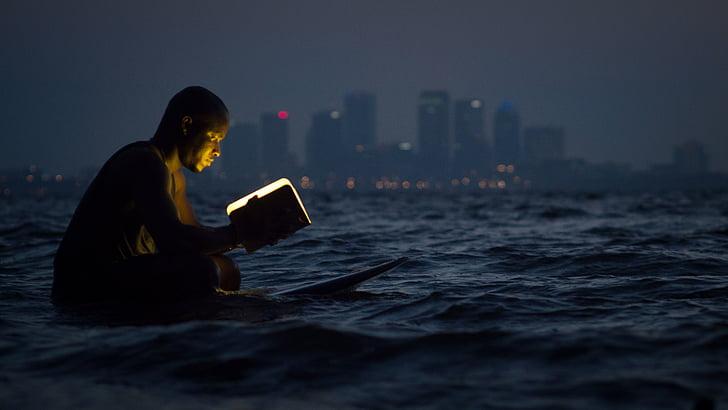 osoba, čítanie, kniha, lampa, Surf, telo, vody