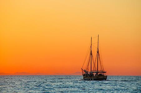 mer, navire à voile, botte, navire, zweimaster, calme, reste