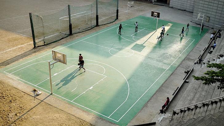 pilota, bàsquet, pista de bàsquet, cort, joc, persones, esport