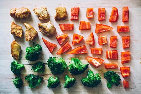 dārzeņi, Bell peppers, Capsicum, Brokoļi, selerijas, krāsa, sakārtotas