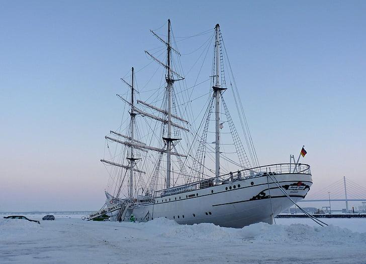 gorch fock, sail training ship, in winter, nautical Vessel, sea, sailing Ship, sailing