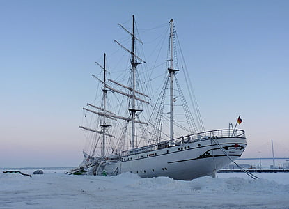 gorch fock, sail training ship, in winter, nautical Vessel, sea, sailing Ship, sailing