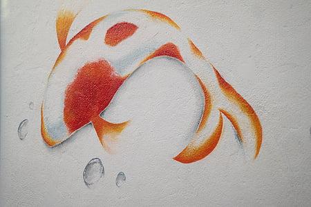 carpa, pescado, mural, enjambre de carpa