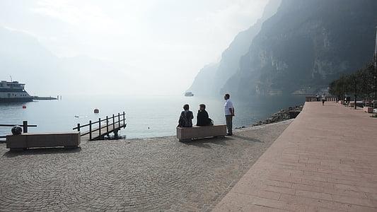 tó, köd, sétány, víz, reggel, Olaszország, Garda