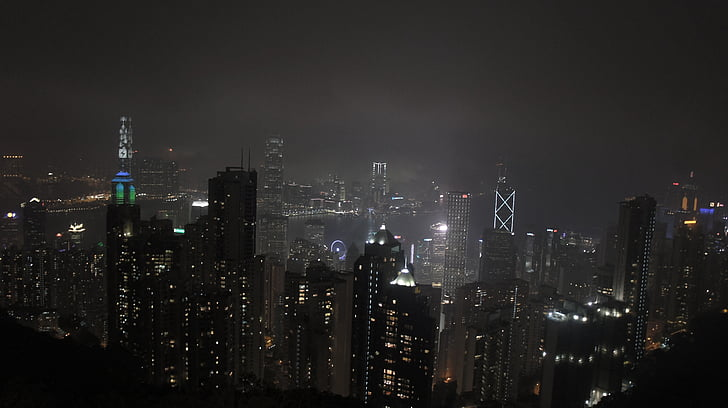 Hong kong, centrale, paesaggio di notte, scuro, città, notte, vista di notte