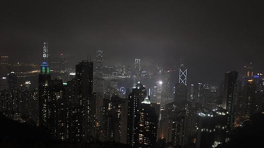 Hongkong, sentrale, natt landskap, mørk, byen, natt, nattvisning