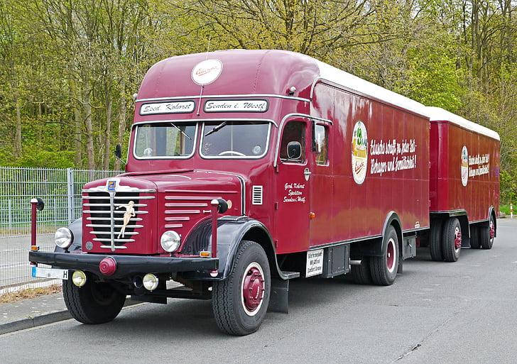 Büssing, camión, 1956, históricamente, restaurado, operacional, aprobado