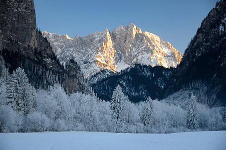 alpejska, Austria, panoramy, zimowe, góry, Styria, śnieg