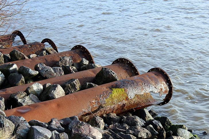 canonades, inoxidable, l'erosió, metall, vell, Rusted, ferro