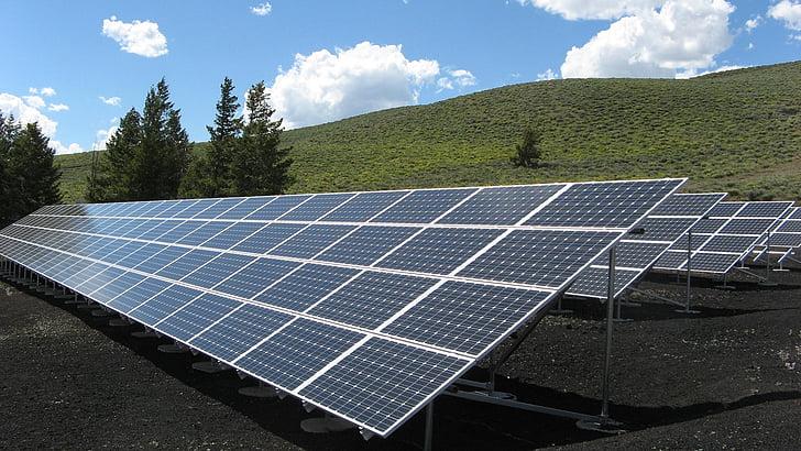 zonnepaneel array, macht, zon, elektriciteit, energie, milieu, zonlicht