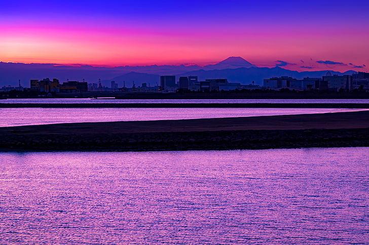 Monte fuji, mar, água, pôr do sol, mar de nuvens, ao entardecer, Japão