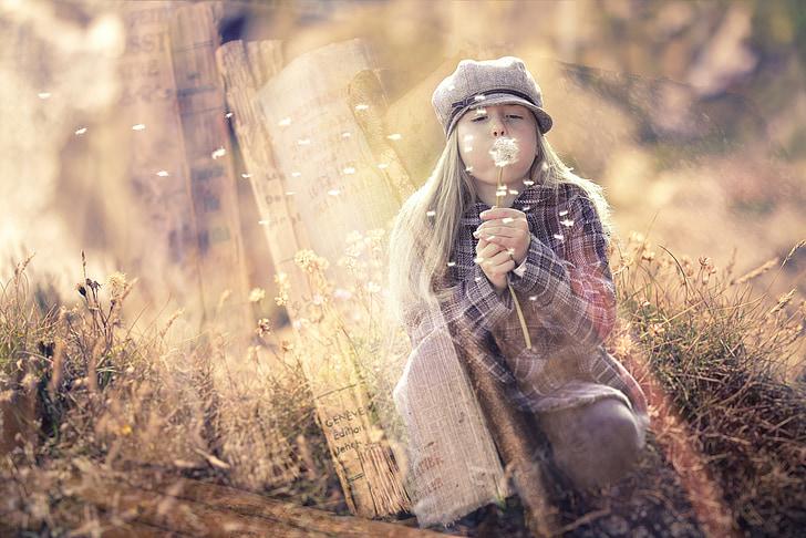 fantasy, fairy tales, girl, dream world, books, dandelion, wind
