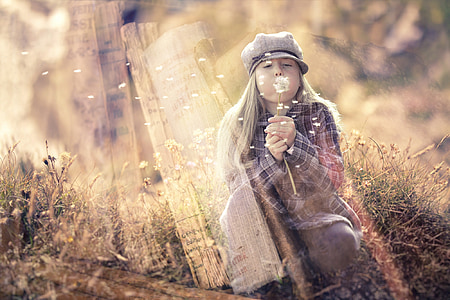 фентъзи, приказки, Момиче, свят мечта, книги, Глухарче, вятър