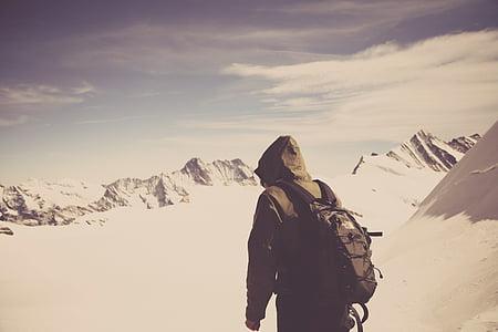person, walking, snow, field, daytime, hiking, climbing