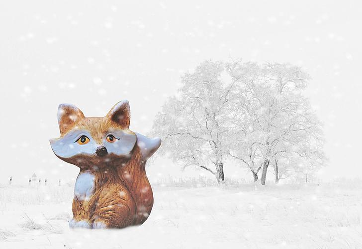 winter, snow, fuchs, wintry, white, tree, cold