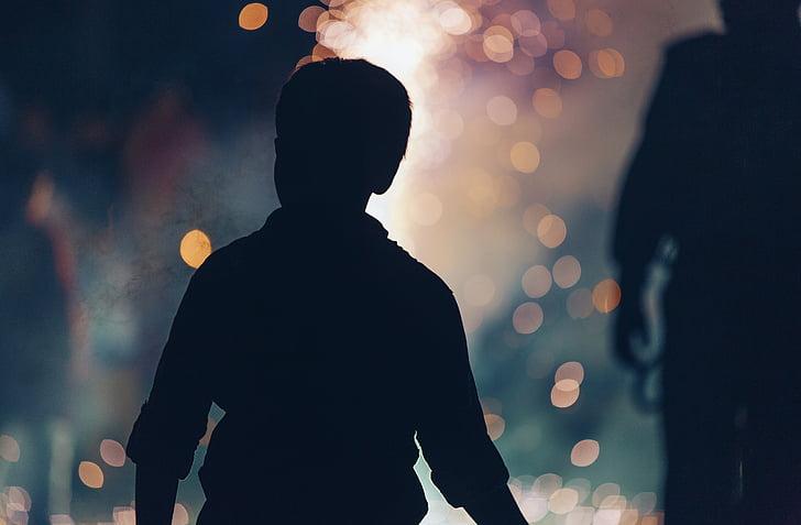 boy, people, silhouette, bokeh, blur, night, rear view