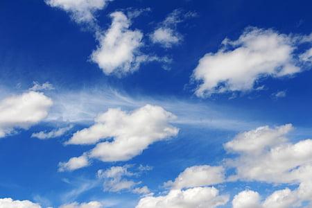 modrá, Azure, jasná modrá, Sky, oblaky, načechraný mraky, biele oblaky