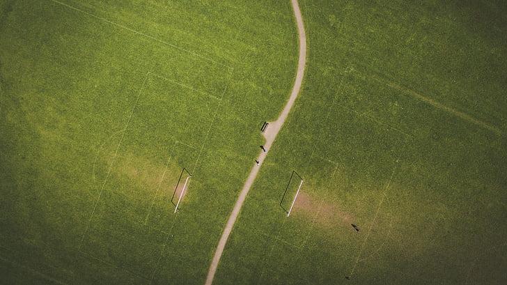 green, grass, football, field, sport, aerial, view