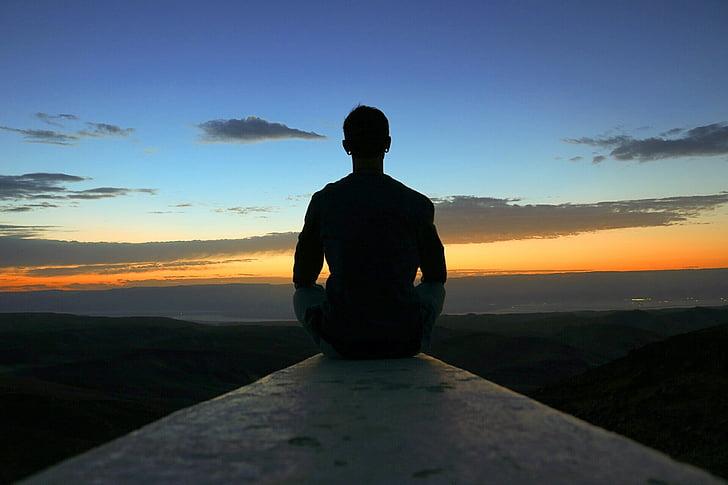 Meditácia, Zobrazenie, Sunrise, Sky, mier, šťastný, Jóga