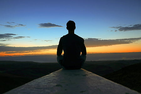 meditation, view, sunrise, sky, peace, happy, yoga