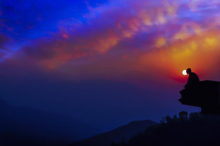 Meditácia v súmraku, Twilight, západ slnka, Meditácia, pokojné, Relax, Meditujúci