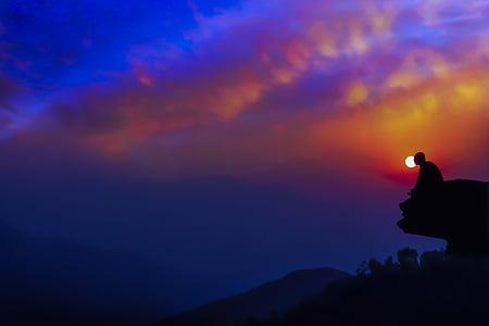 meditació al capvespre, crepuscle, posta de sol, meditació, tranquil·la, relaxació, meditant