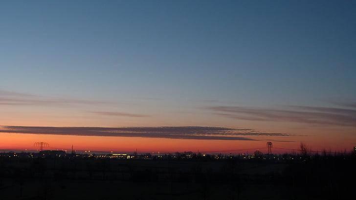 céu, vermelho, arrebol, pôr do sol, abendstimmung, céu da noite, nuvens