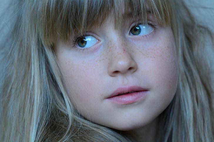dijete, djevojka, plavuša, lice, portret