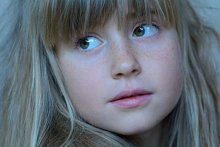 dítě, Děvče, Blondýna, obličej, portrét