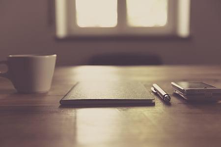 купа, бюро, мобилен телефон, бележник, перо, смартфон