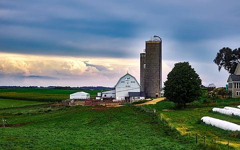 wisconsin, dairy farm, silo, barn, house, landscape, scenic