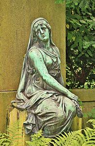 mujer, humano, escultura, estatua de, bronce, estatua de bronce, Cementerio
