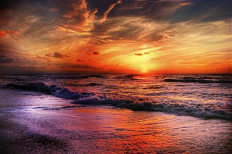 cel, platja, sol, Mar, núvols, Costa, blau