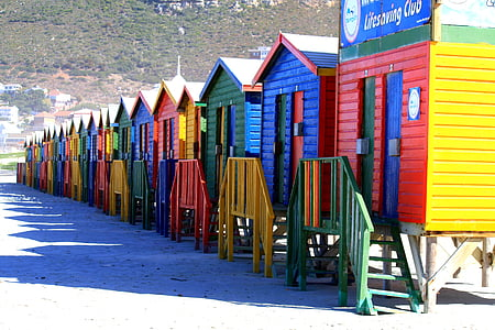 cape town, south africa, muizenberg, townhouses, beach cabins, holiday, beach