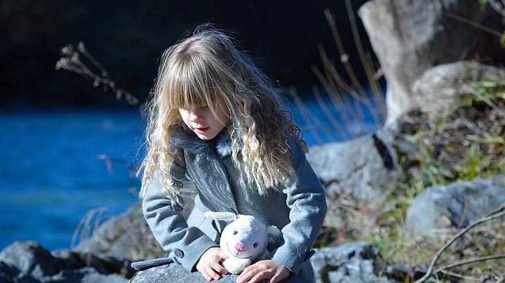 barn, jente, Blond, bamse, elven, natur