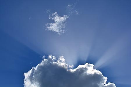 구름, 자연, 구름 모양, 어두운 구름, 스카이, 블루, 하늘 광선