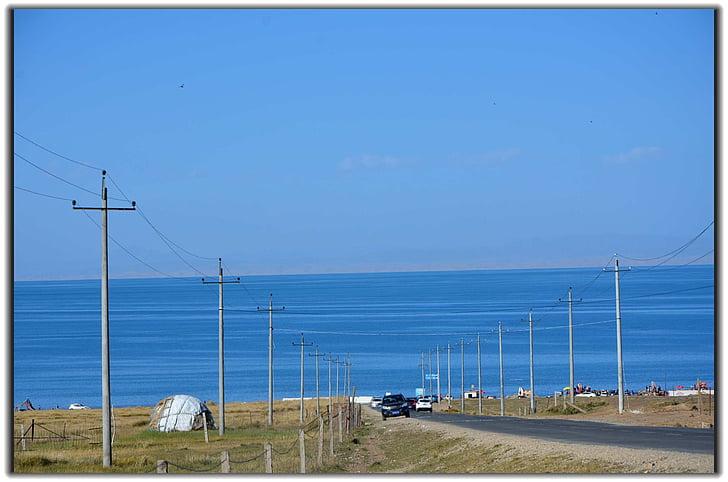 kecil segar, Danau Qinghai, biru