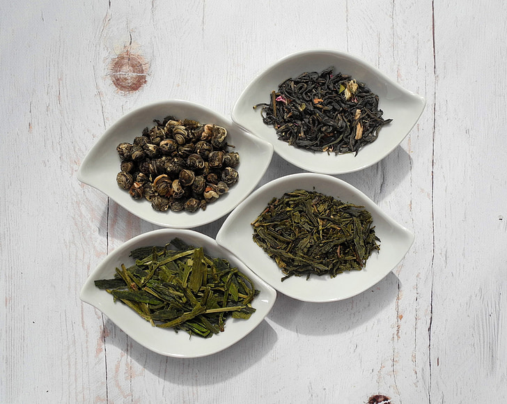 tea leaves, tea, green tea, teacup, dried leaves, dried plant, food