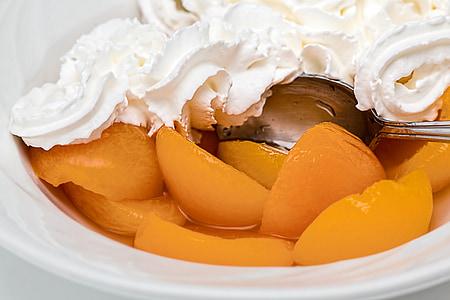 apricot, fruit, whipped cream, dessert, sweet, nutrition, sugar