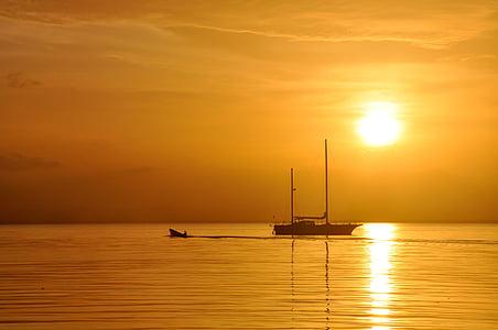 море, Захід сонця, завантаження, Таїланд, кораблі, океан, НД