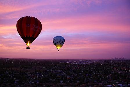 горещ въздух балон, розово, лилаво, небе, лети, въздух